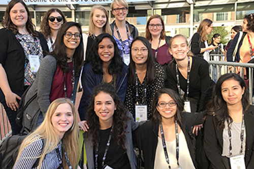 group photo of women at a conference