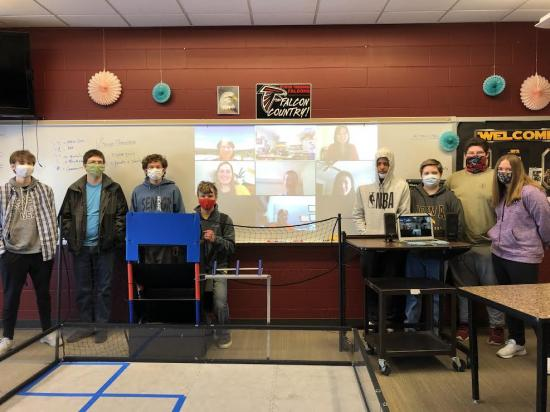 group photo of Aplington-Parkersburg students with presenters