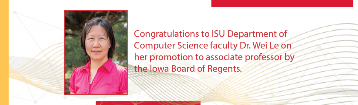 Dr. Wei Le promoted to associate professor by the Iowa Board of Regents