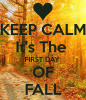 """Keep calm its the first day of fall"" printed on forest scene"